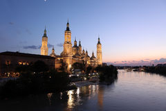 View of the basilica of the Virgen del Pilar and Ebro river, Zar Royalty Free Stock Photos