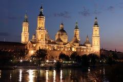 View of the basilica of the Virgen del Pilar and Ebro river, Zar Stock Photos
