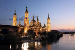 View of the basilica of the Virgen del Pilar and Ebro river, Zar Stock Image