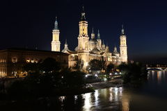 View of the basilica of the Virgen del Pilar and Ebro river, Zar Royalty Free Stock Image