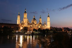 View of the basilica of the Virgen del Pilar and Ebro river, Zar Royalty Free Stock Images