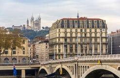 View of Basilique Notre Dame de Fourviere in Lyon Stock Photo