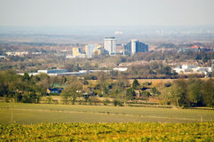 View of Basingstoke, Hampshire. View of the town centre of Basingstoke from a hill at Farleigh Wallop some miles away.  Hampshire, England Stock Images