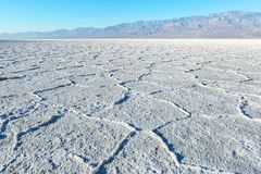 View of the Basins`s salt flats, Death Valley National Park, Death Valley, Inyo County, California, United States.  stock photos