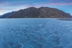 View of the Basins salt flats, Badwater Basin, Death Valley, Inyo County, California, United States. Salt Badwater Formations in D royalty free stock images