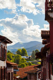 Basque Panorama. View of the basque mountains from the heights of Saint Jean Pied de Port, Pays Basque, France royalty free stock image