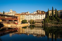 View of Bassano del Grappa from a bridge stock photography