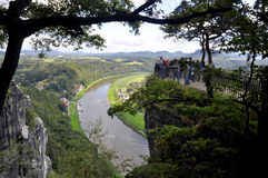 View from the Bastei on the river Elbe Stock Images
