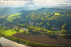 View from Bastei to Lilienstein Saxon Switzerland Germany Royalty Free Stock Photos