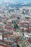 View from Bastilla upon Cours Jean Jaures, Grenoble, France stock image
