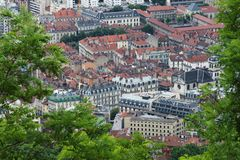 View from Bastilla mountain upon Grenoble buildings, France stock photography