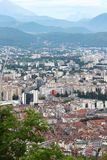 View from Bastilla mountain upon Grenoble buildings in France royalty free stock photos