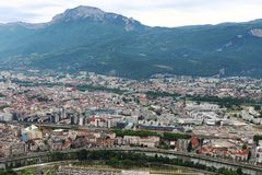 View from Bastilla mountain upon Grenoble and Hautes Alpes, France stock photo