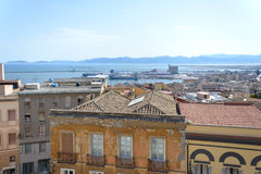 View of Bastione Saint Remy at Cagliari, in Sardinia black and white Stock Images