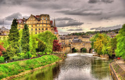View of Bath town over the River Avon Royalty Free Stock Image