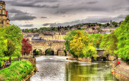 View of Bath town over the River Avon Royalty Free Stock Photography
