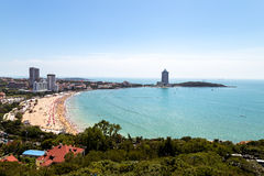 View of bathing beach N1 from Xiao Yu Shan Park, Qingdao. View of bathing beach N1 from the hill of Xiao Yu Shan Park in summer, Qingdao, Shandong province Royalty Free Stock Image