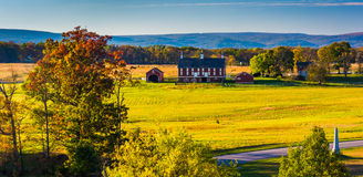 View of battlefields and a red barn in Gettysburg, Pennsylvania. Stock Image