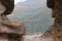 View from battlements of Ananuri church fortress stock photography