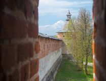 The view from the battlements of the fortress. Historical town Zaraysk in Russia, tower of medieval fortress (Kremlin Royalty Free Stock Photos
