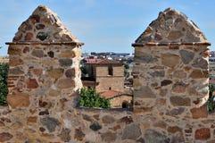 Walls of Ávila, Castilla y León, Spain. View of the battlements of the walls of Avila, Castilla y León, Spain Royalty Free Stock Image