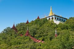Mandalay Hill, Myanmar (Burma. View of a bautidul buddhist temple at the top of Mandalay Hill royalty free stock images