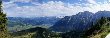 View from Bavaria to Austria. The picture shows Austrian villages in the valley of the Salzach river, also several mountains: Hagengebirge , Dachstein-Massif and stock photography