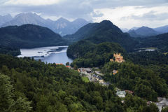 View of Bavarian Alps and Hohenschwangau Castle Royalty Free Stock Images