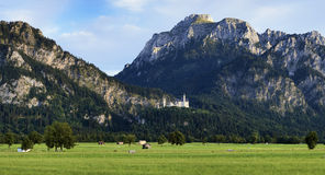View of Bavarian Alps with Neuschwanstein Castle Royalty Free Stock Photography