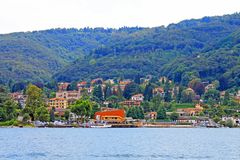 View of Baveno and lake Maggiore Italy stock images