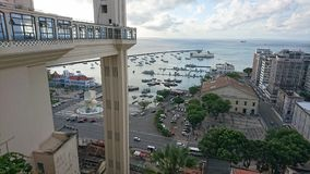 View of the Bay of All the Saints from the Tomé de Souza Square. In Salvador, Brazil stock photo