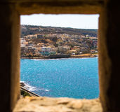 View of the bay. Ancient window in the Greece castle Royalty Free Stock Photos