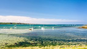 View of bay Anse de Perros near Perros-Guirec. Travel to France - view of bay Anse de Perros of English Channel near Perros-Guirec commune on Pink Granite Coast Royalty Free Stock Photography
