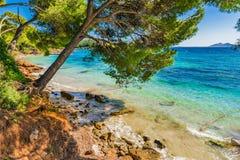 Beautiful seascape of Formentor beach on Majorca island. View of bay beach of Platja de Formentor, idyllic seaside on Mallorca, Spain Mediterranean Sea Royalty Free Stock Images