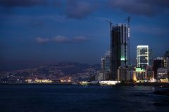 View of a bay in Beirut at night, Lebanon Royalty Free Stock Images
