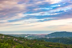 Adler from the heights of Big Sochi, Russia. royalty free stock photo