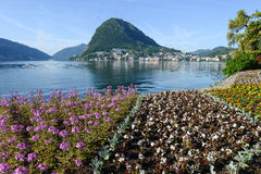 View of the bay from the botanical garden at Lugano Stock Photos