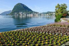 View of the bay from the botanical garden at Lugano Royalty Free Stock Image