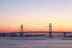 Bay Bridge over sunrise in Yokohama, Japan Stock Images