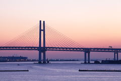 Bay Bridge over sunrise in Yokohama, Japan Stock Image