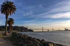 View of the Bay Bridge from Treasure Island royalty free stock image