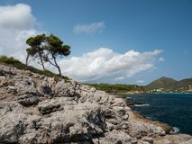 View of the bay of canyamel, mallorca, Balearic Islands. On a sunny day Royalty Free Stock Images