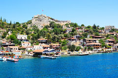 The view on bay and castle in Kekova Royalty Free Stock Photos