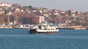 View of the bay with the ferry stock video footage