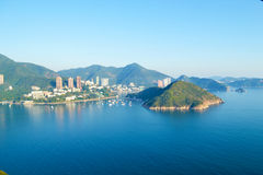 View of the bay of Hong Kong from the top of Ocean Park. Royalty Free Stock Image