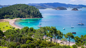 View on Bay of Islands New Zealand. View of Bay of Islands, North Island, New Zealand from viewpoint, a popular tourist attraction with turqoise waters reached Royalty Free Stock Photography