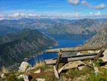 View of the Bay of Kotor 3. Montenegro Bay of Kotor view wild beauty stock photo