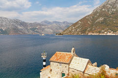 View of Bay of Kotor and Church of our Lady of the Angels. Montenegro Stock Images