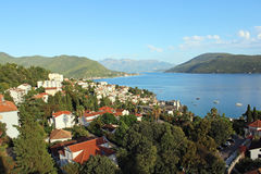 View of the Bay of Kotor and Herceg Novi. In Montenegro Royalty Free Stock Photography