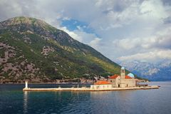 View of Bay of Kotor and island of Our Lady of the Rocks. Montenegro Stock Photo